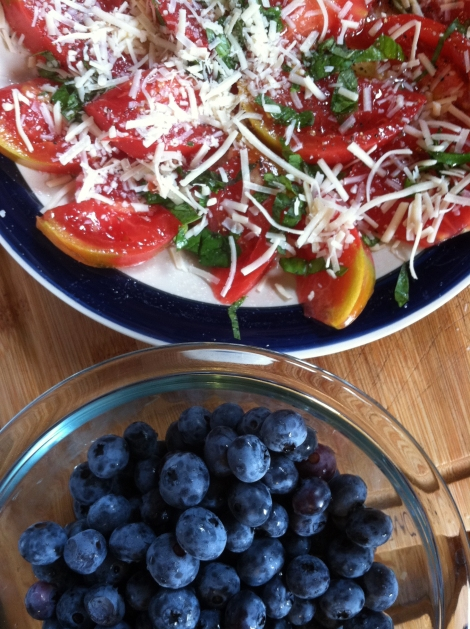 blueberries and heirloom tomato caprese