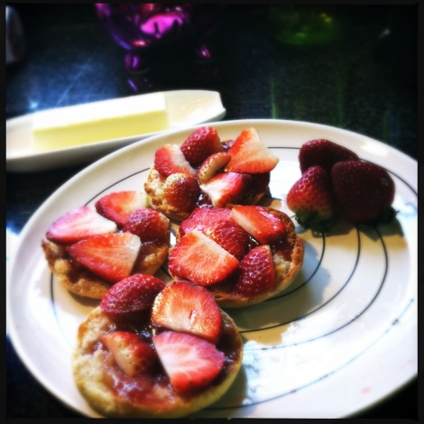 strawberry on english muffins