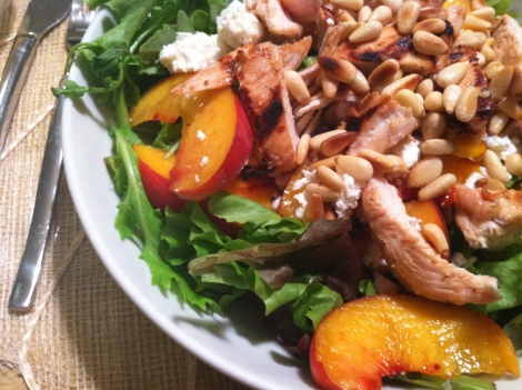 summer salad with peach grilled chicken pinenut & goatcheese